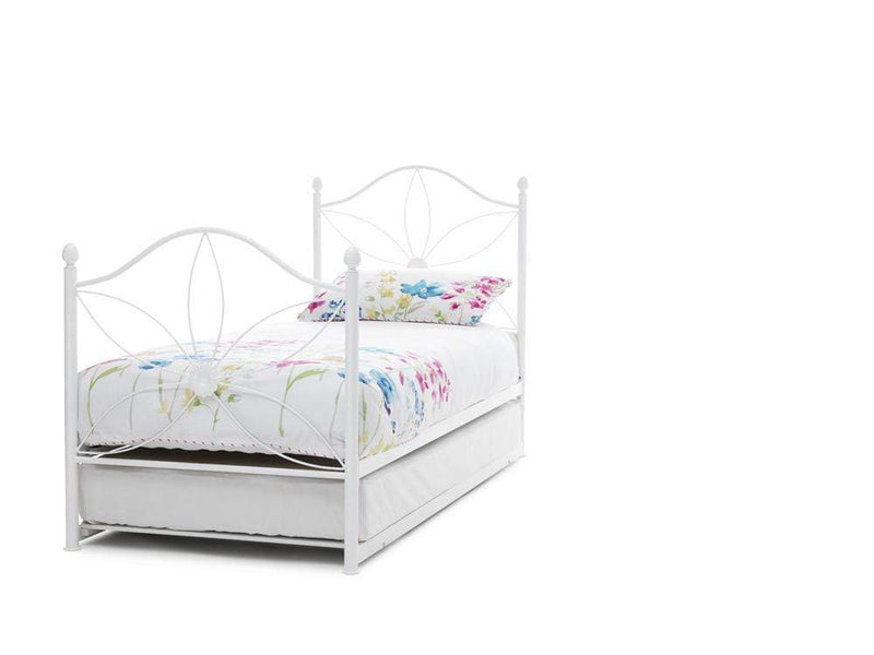 Serene Guest Bed Single 90cm 3ft Daisy Metal Guest Bed - White
