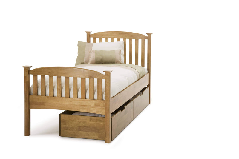 Serene Guest Bed Single 90cm 3ft Eleanor Wood Guest Bed - Oak - High Foot End