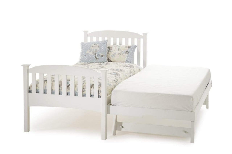 Serene Guest Bed Single 90cm 3ft Eleanor Wood Guest Bed - White - High Foot End