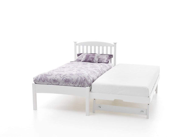 Serene Guest Bed Single 90cm 3ft Eleanor Wood Guest Bed - White - Low Foot End