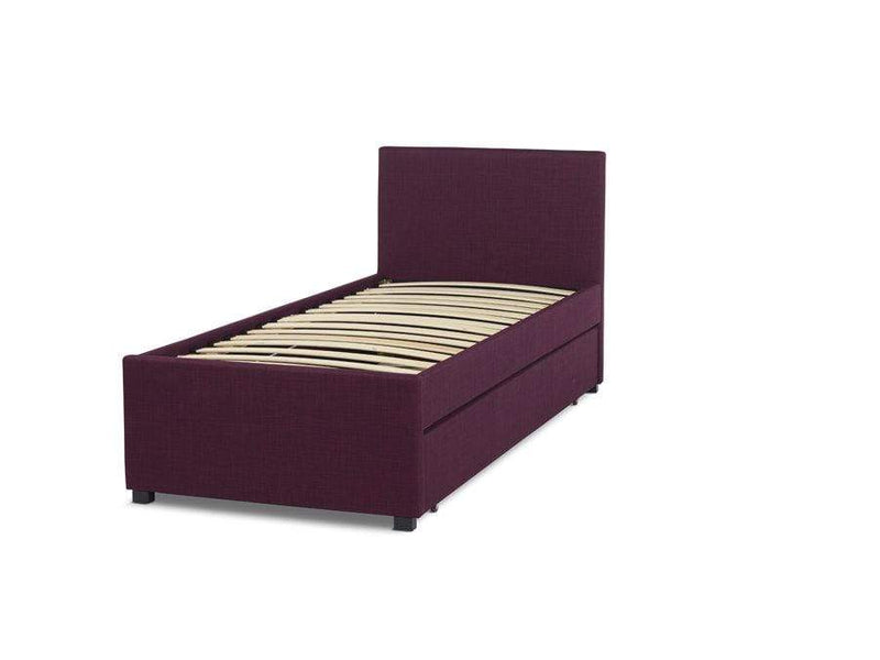 Serene Guest Bed Single 90cm 3ft Lily  Upholstered Fabric Bed - Plum