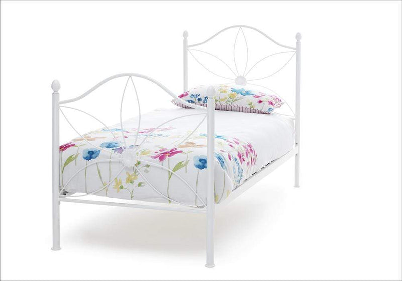 Serene Metal Bed Single 90cm 3ft Daisy  Metal Bed - White