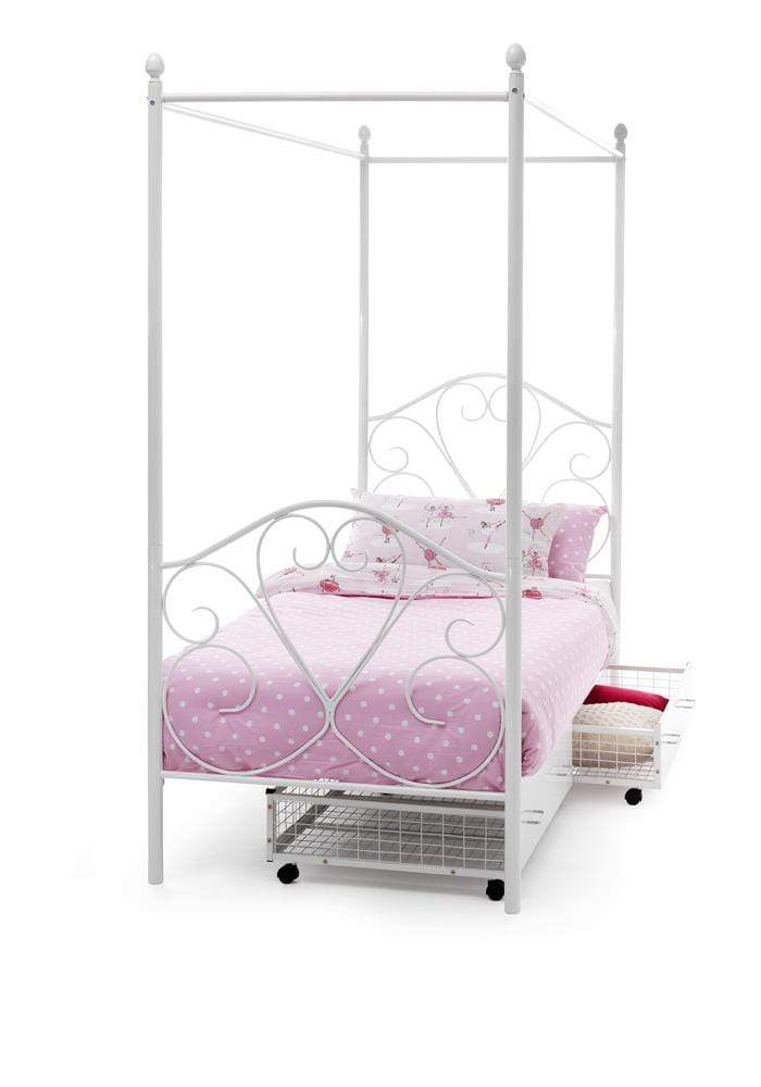 Serene Metal Bed Single 90cm 3ft Isabelle 4 Post Metal Bed - White