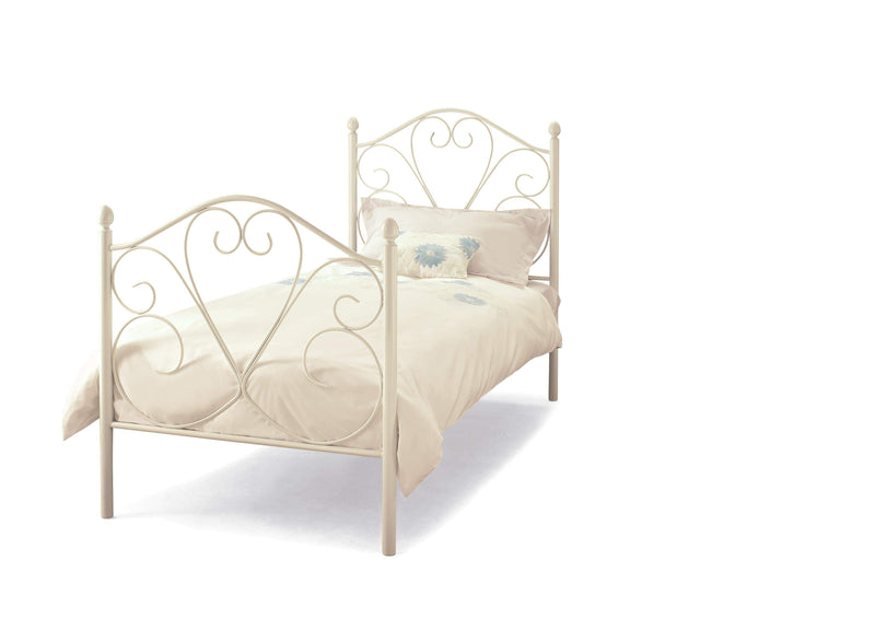Serene Metal Bed Single 90cm 3ft Isabelle  Metal Bed - White