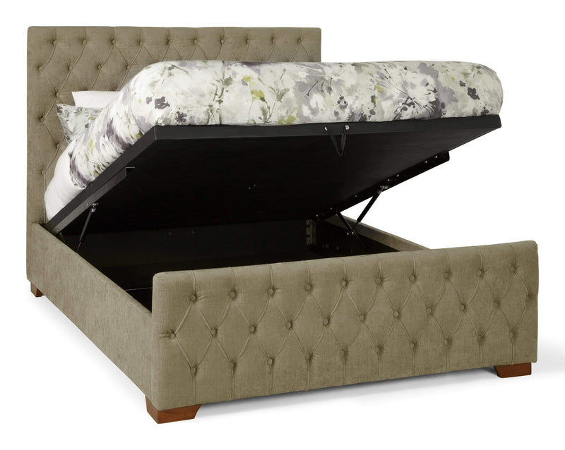 Serene Ottoman Bed Lillian  Fabric Upholstered Ottoman Bed - Fudge