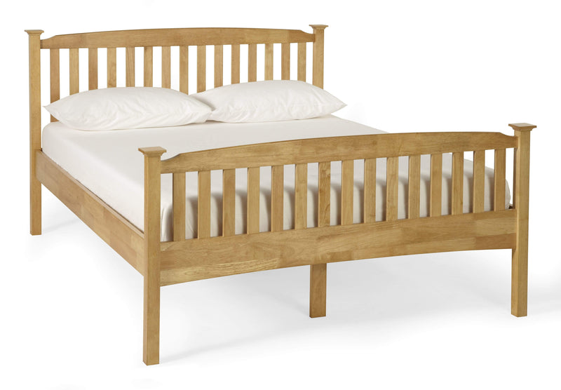 Serene Wood Bed Eleanor  Wood Hevea Bed - Oak - High Foot End