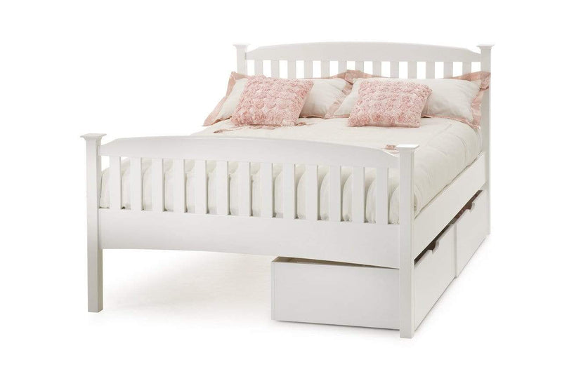 Serene Wood Bed Eleanor  Wood Hevea Bed - White - High Foot End