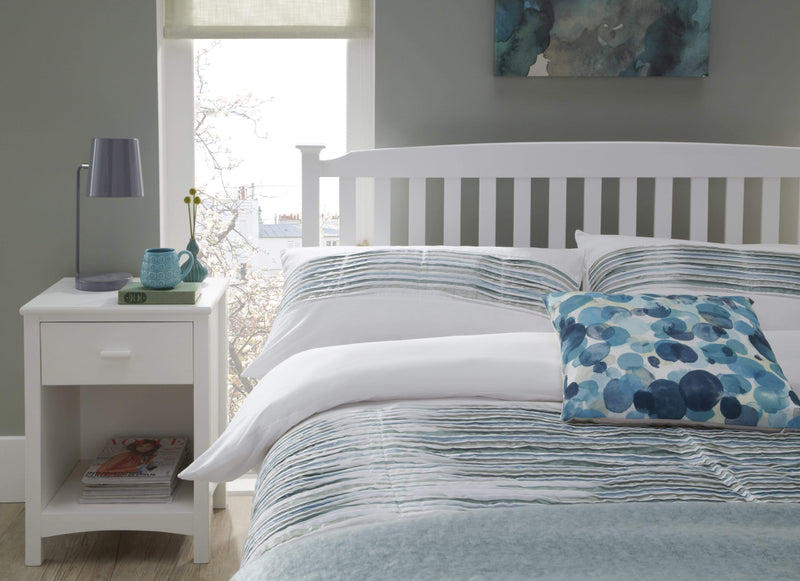 Serene Wood Bed Eleanor  Wood Hevea Bed - White - Low Foot End