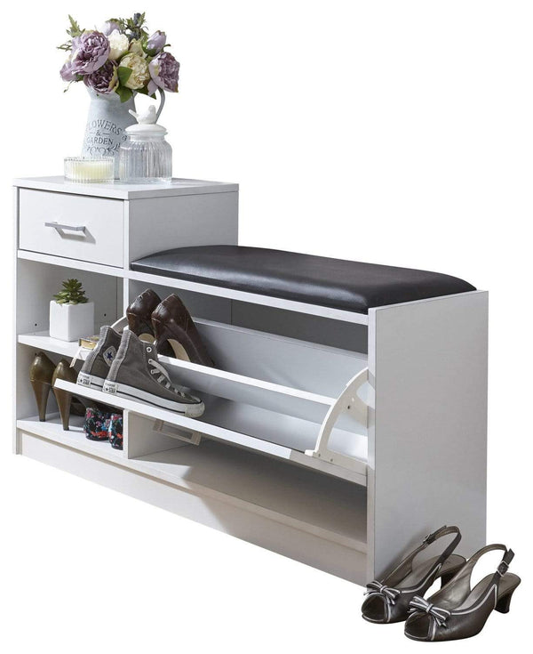 GFW Shoe Bench Malmo Shoe Bench With Drawer White Bed Kings