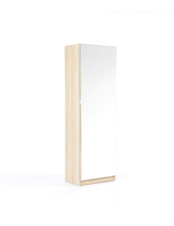 GFW Shoe Cabinet 150cm Mirrored Shoe Cabinet Oak Bed Kings