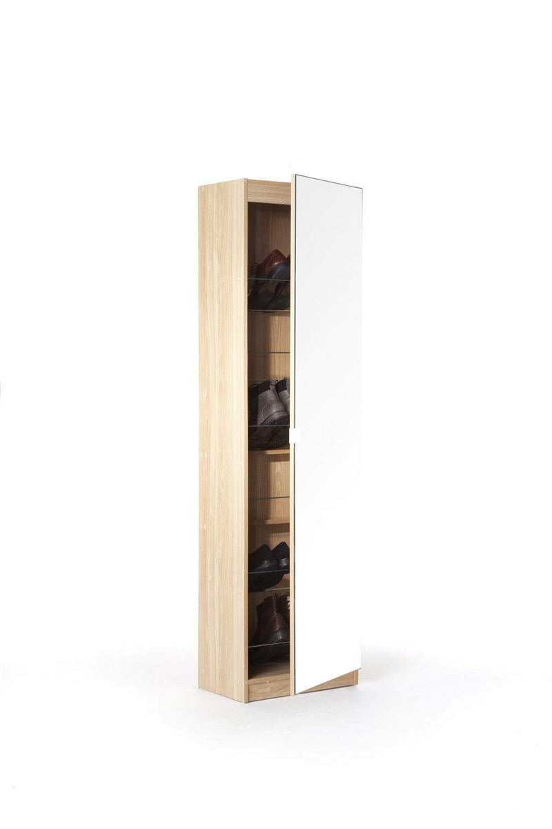 180cm Mirrored Shoe Cabinet Oak