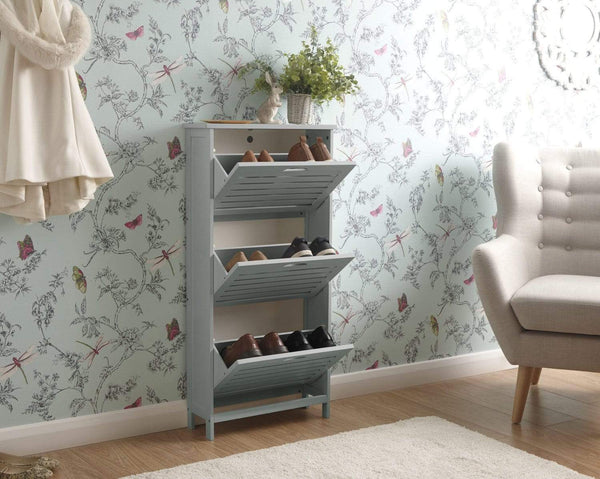 GFW Shoe Cabinet Bergen Three Tier Shoe Cabinet Grey Bed Kings