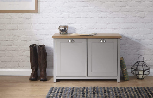 GFW Shoe Cabinet Lancaster Shoe Storage Grey Bed Kings