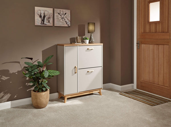 GFW Shoe Cabinet Nordica Shoe & Boot Cabinet Oak/Light Grey Bed Kings
