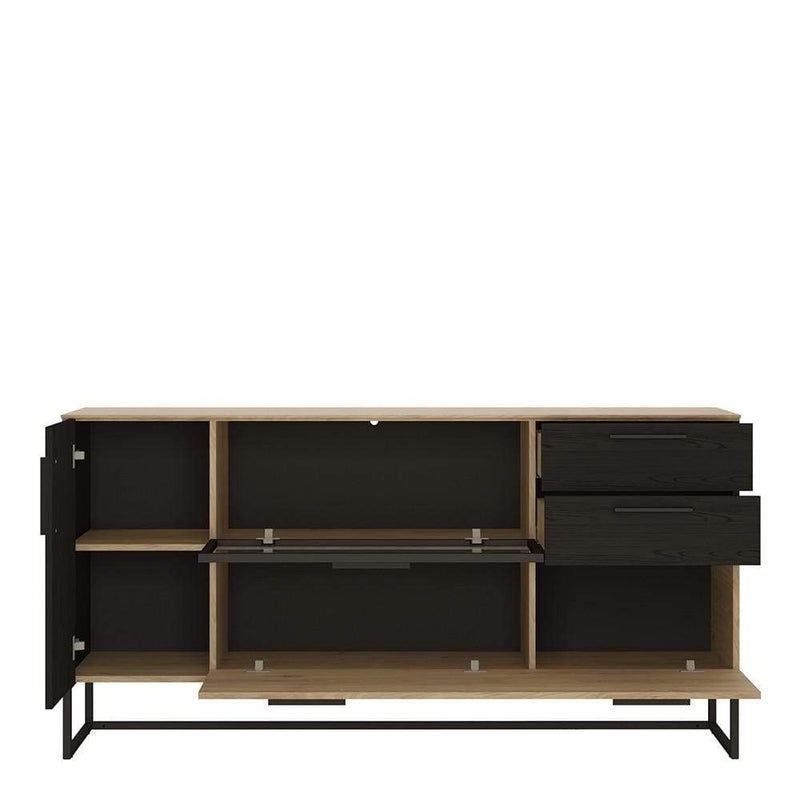 Cordoba Glazed Sideboard - 3 Doors 2 Drawers Jackson Hickory with Black Accents