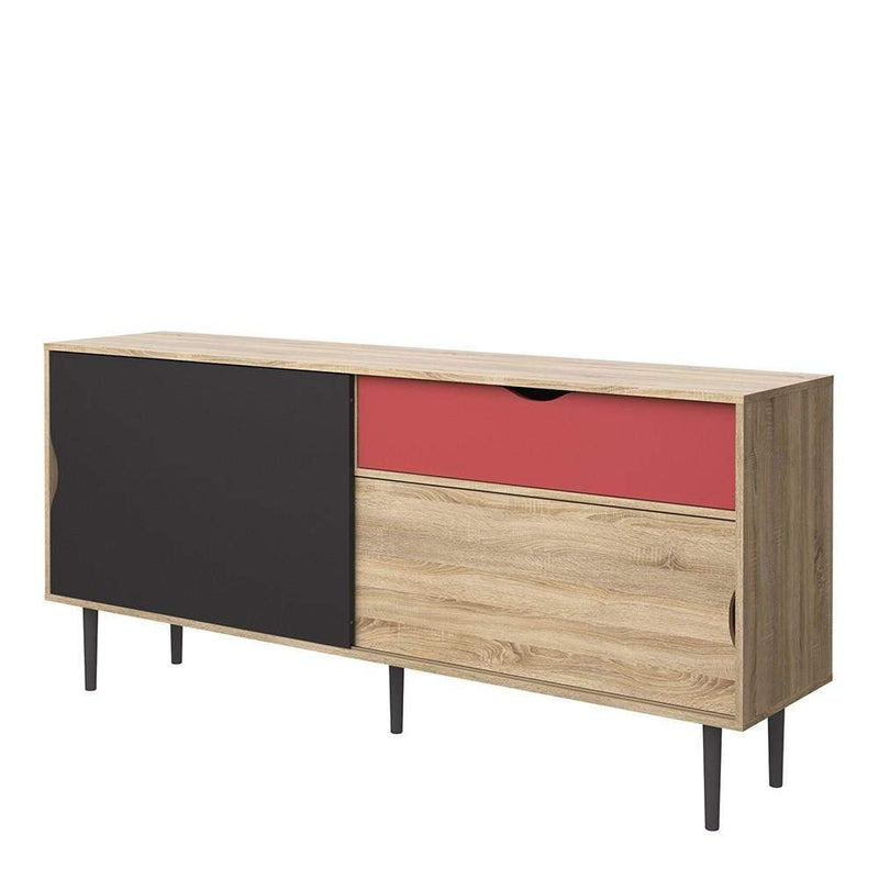 Unit Sideboard 1 Drawer w/ Sliding Doors in Oak with Dark Grey and Teracotta