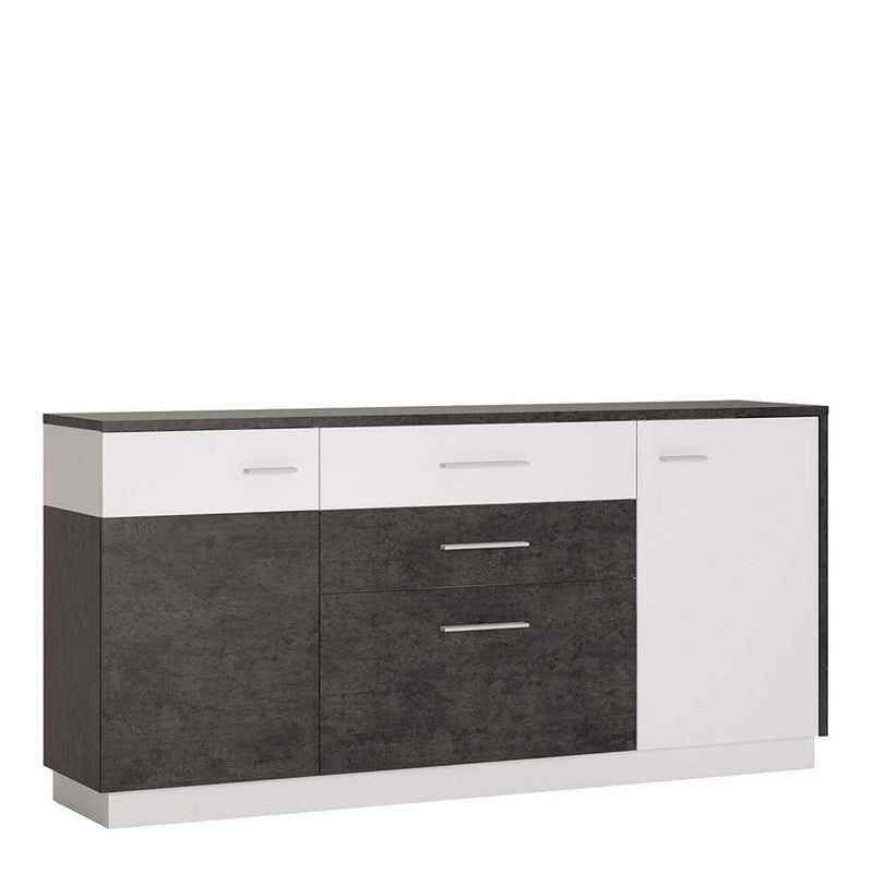 Zingaro 2 door 2 drawer 1 compartment sideboard Slate Grey and Alpine White
