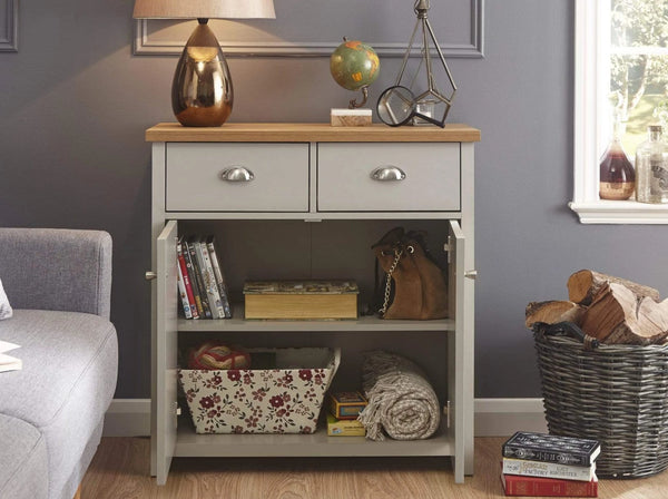 GFW Sideboard Lancaster Compact Sideboard Grey Bed Kings