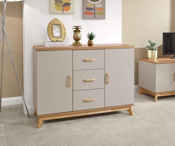 GFW Sideboard Nordica Large Sideboard Oak/Light Grey Bed Kings