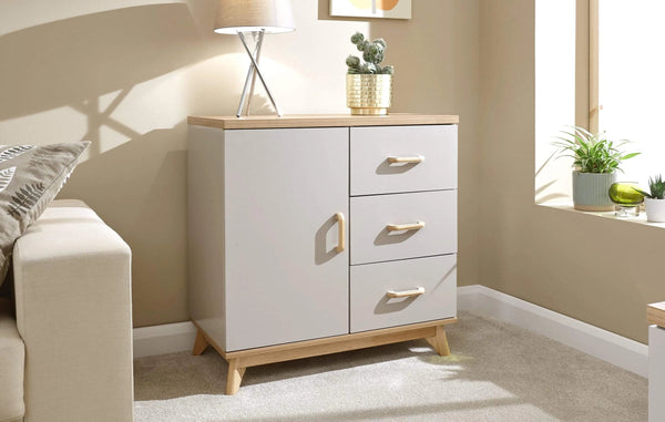 GFW Sideboard Nordica Small Sideboard Oak/Light Grey Bed Kings