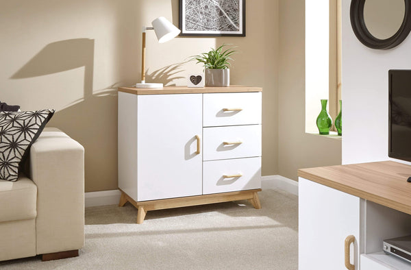 GFW Sideboard Nordica Small Sideboard Oak/White Bed Kings