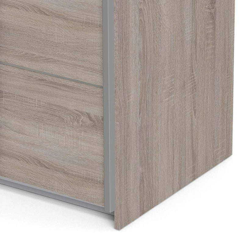 Verona Sliding Wardrobe 120cm in Truffle Oak with Truffle Oak Doors with 2 Shelves