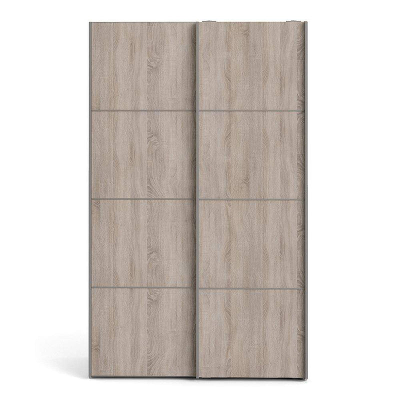 Verona Sliding Wardrobe 120cm in White with Truffle Oak Doors with 2 Shelves