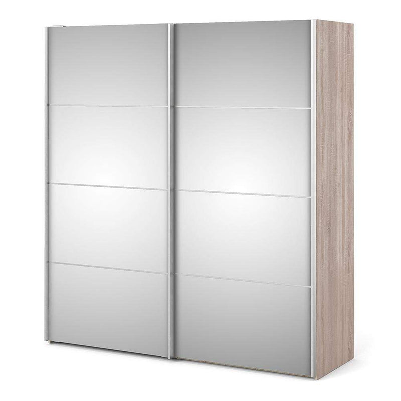 Verona Sliding Wardrobe 180cm in Truffle Oak with Mirror Doors with 5 Shelves