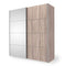 Verona Sliding Wardrobe 180cm in Truffle Oak with Truffle Oak and Mirror Doors with 2 Shelves