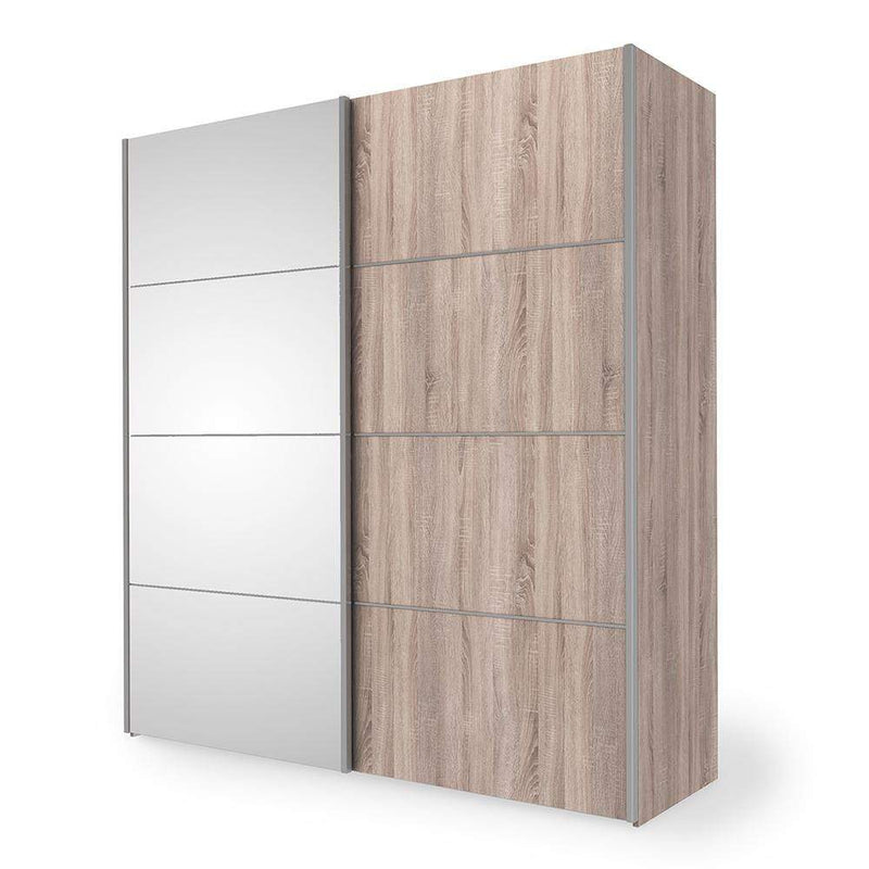 Verona Sliding Wardrobe 180cm in Truffle Oak with Truffle Oak and Mirror Doors with 5 Shelves