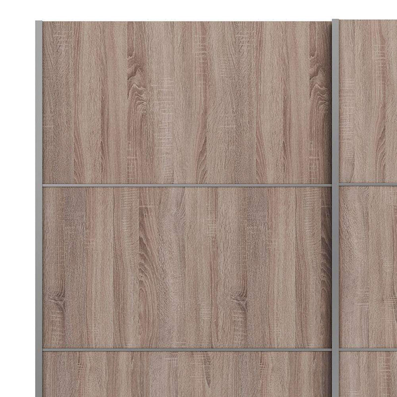 Verona Sliding Wardrobe 180cm in Truffle Oak with Truffle Oak Doors with 2 Shelves