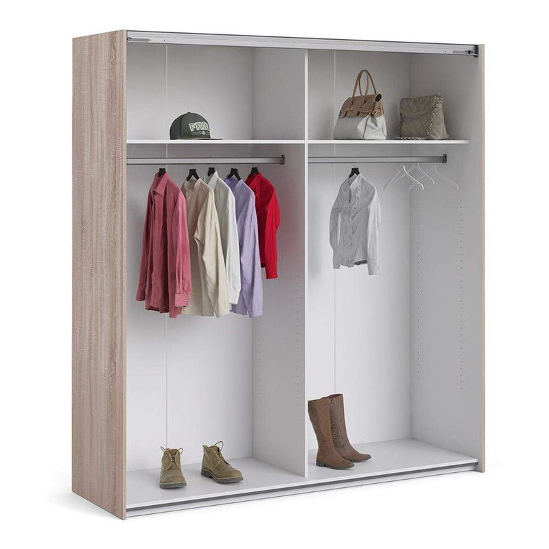 Verona Sliding Wardrobe 180cm in Truffle Oak with White and Mirror Doors with 2 Shelves