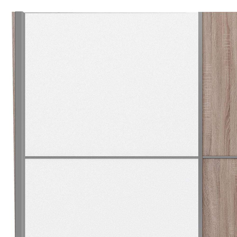 Verona Sliding Wardrobe 180cm in Truffle Oak with White and Truffle Oak doors with 2 Shelves