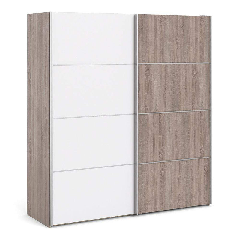 Verona Sliding Wardrobe 180cm in Truffle Oak with White and Truffle Oak doors with 5 Shelves