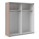 Verona Sliding Wardrobe 180cm in Truffle Oak with White Doors with 2 Shelves