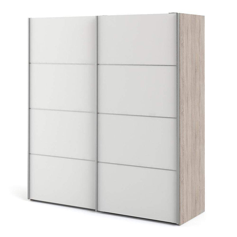 Verona Sliding Wardrobe 180cm in Truffle Oak with White Doors with 5 Shelves