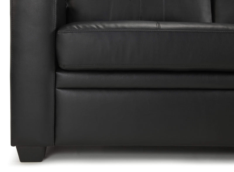 Serene Sofa Bed Small Double 120cm 4ft Turin  Leather Sofa Bed - Black Bed Kings