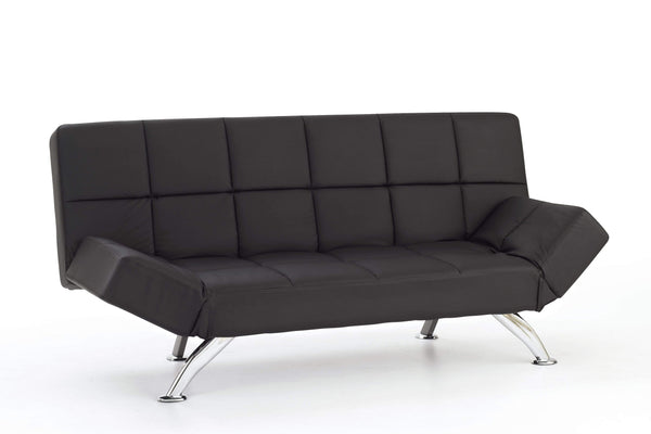 Serene Sofa Bed Small Double 120cm 4ft Venice  Leather Sofa Bed - Black Bed Kings