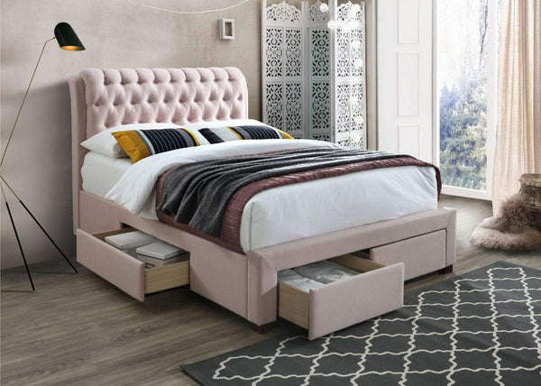 Artisan Bed Company Storage Bed Pink 4 Drawer Fabric Storage Bed (Front & Side) - Artisan 3013 Bed Kings