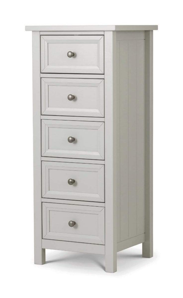 Julian Bowen TALL CHEST Maine 5 Drawer Tall Chest- Dove Grey Bed Kings