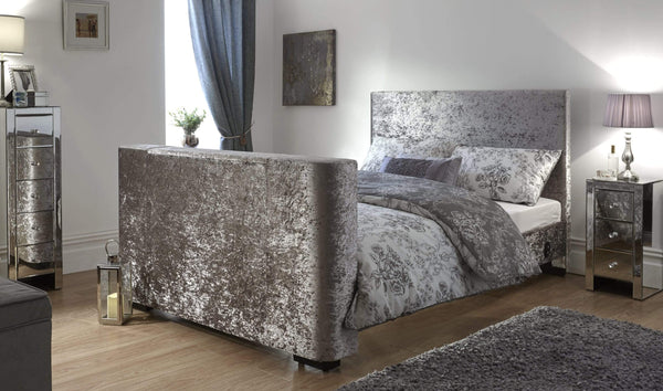 GFW TV Bed Newark Electric Tv Bed Crushed Velvet Bed Kings
