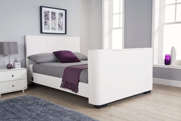 GFW TV Bed Newark Electric Tv Bed White Bed Kings