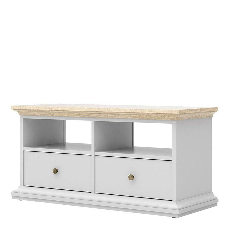 Paris - TV Unit - 2 Drawers 2 Shelves in White and Oak