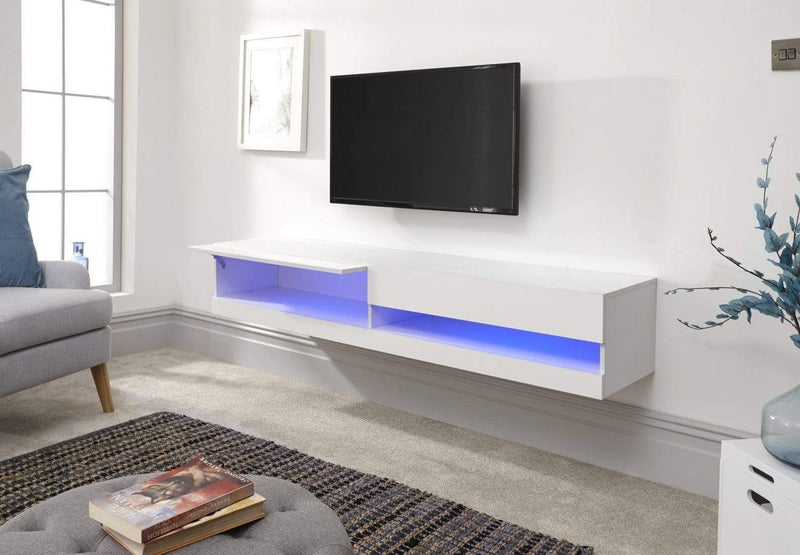 CLEARANCE -  Galicia 180Cm Wall TV Unit With Led White
