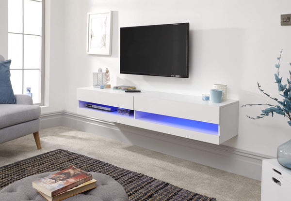 GFW TV Unit Galicia 150Cm Wall TV Unit With Led White Bed Kings