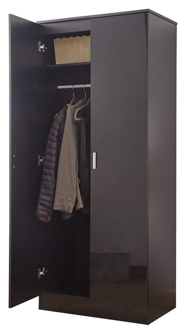 GFW Wardrobe Melbourne Black + Black Plain 2 Door Wardrobe Bed Kings