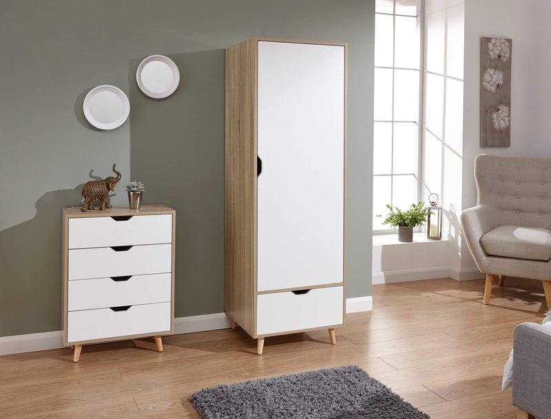 GFW Wardrobe Stockholm 1 Door Wardrobe White Oak Bed Kings