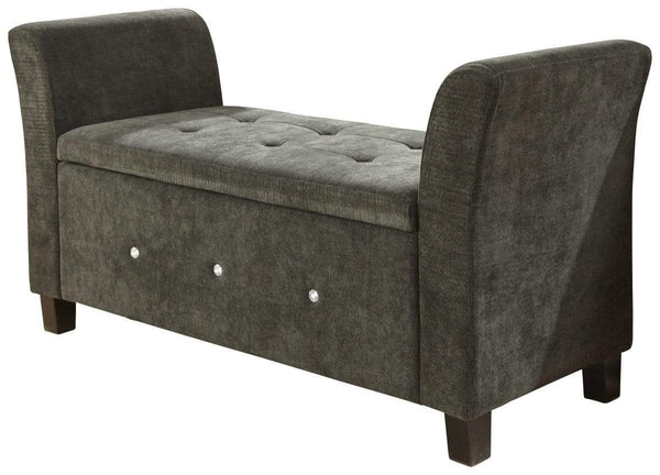 GFW Window Seat Verona Diamante Window Seat Black Chenille Bed Kings