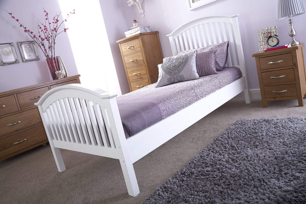 GFW Wood Bed Madrid High Foot End Bed White Bed Kings