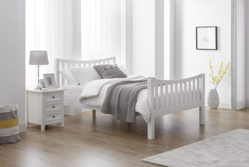 Julian Bowen Wood Bed Double 135cm 4ft 6in Madison Curved Bed In Surf White Double - Wooden Beds - Surf White Bed Kings